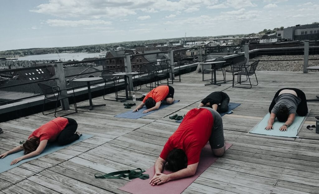 Yoga on roof of Portland Webworks building