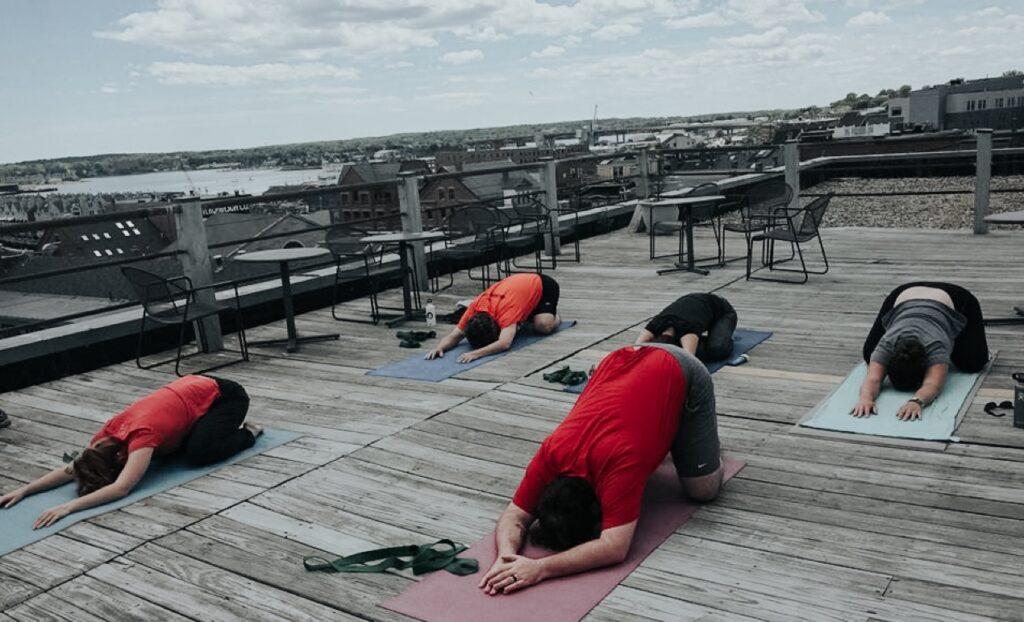 Yoga on roof of Portland Webworks building