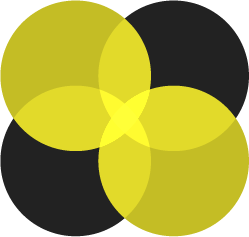 Four circles intersecting