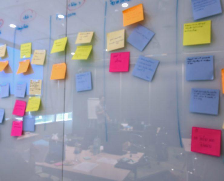 Sticky notes on a whiteboard